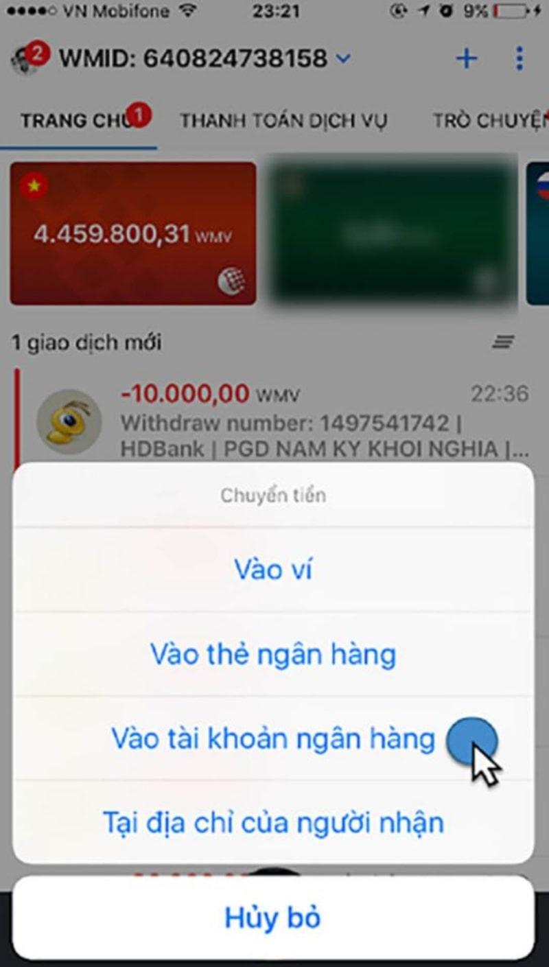 Giao dịch sẽ chuyển sang giao diện trình duyệt web trên điện thoại
