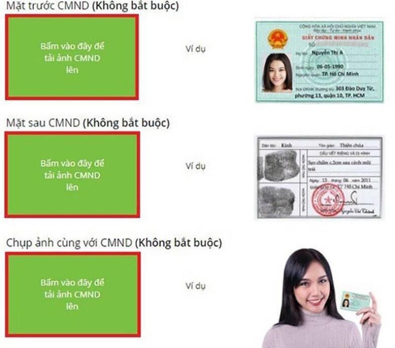 Tải ảnh CMND để hoàn thành đơn đăng ký